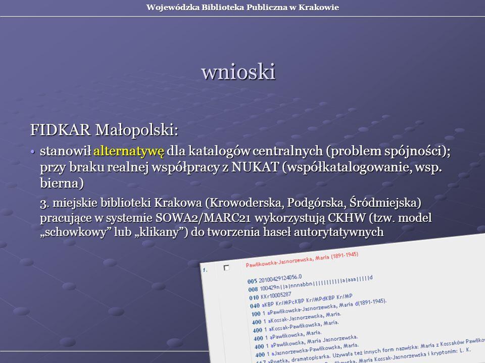 FIDKAR Małopolski: stanowił alternatywę dla katalogów centralnych (problem spójności); przy braku realnej współpracy z NUKAT (współkatalogowanie, wsp.