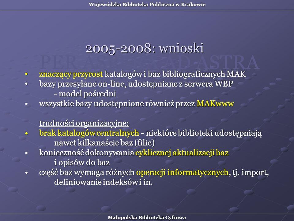 znaczący przyrost katalogów i baz bibliograficznych MAK znaczący przyrost katalogów i baz bibliograficznych MAK bazy przesyłane on-line, udostępniane