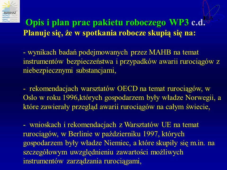 Opis i plan prac pakietu roboczego WP3 c.d. Planuje się, że w spotkania robocze skupią się na: - wynikach badań podejmowanych przez MAHB na temat inst