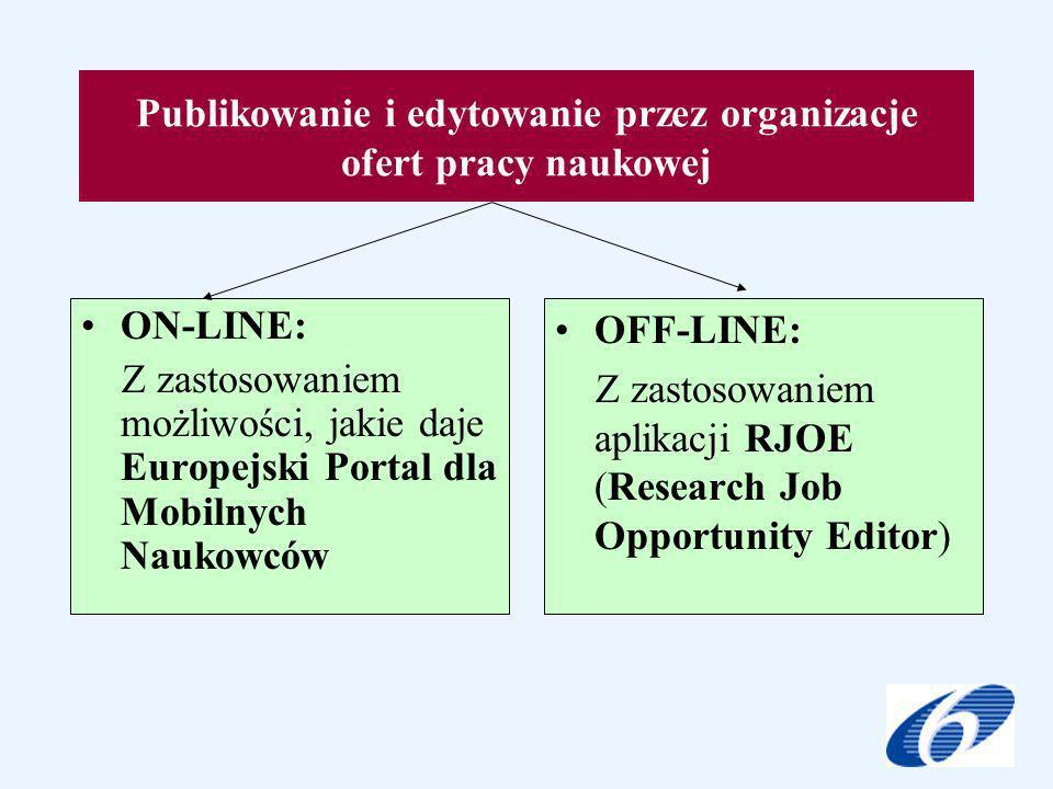 Publikowanie i edytowanie przez organizacje ofert pracy naukowej ON-LINE: Z zastosowaniem możliwości, jakie daje Europejski Portal dla Mobilnych Naukowców OFF-LINE: Z zastosowaniem aplikacji RJOE (Research Job Opportunity Editor)