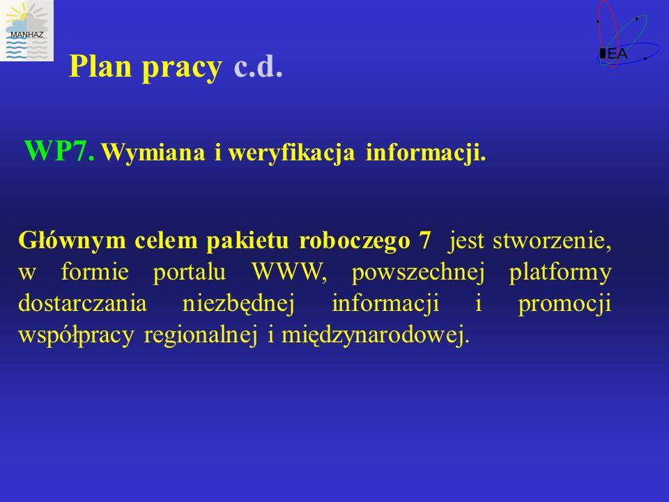Plan pracy c.d. WP7. Wymiana i weryfikacja informacji. Głównym celem pakietu roboczego 7 jest stworzenie, w formie portalu WWW, powszechnej platformy