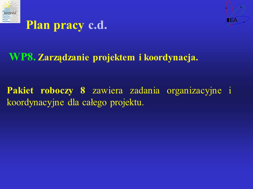 Plan pracy c.d. WP8. Zarządzanie projektem i koordynacja. Pakiet roboczy 8 zawiera zadania organizacyjne i koordynacyjne dla całego projektu.