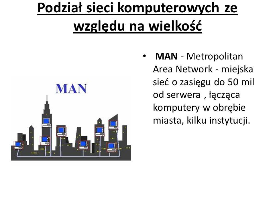 Podział sieci komputerowych ze względu na wielkość MAN - Metropolitan Area Network - miejska sieć o zasięgu do 50 mil od serwera, łącząca komputery w obrębie miasta, kilku instytucji.
