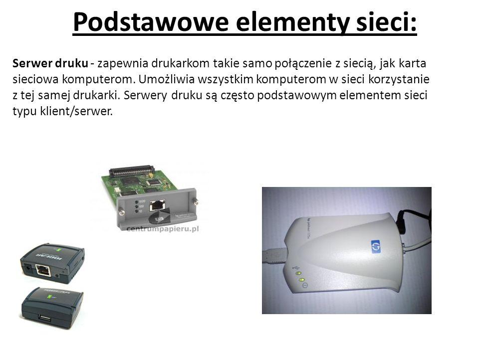 Podstawowe elementy sieci: Serwer druku - zapewnia drukarkom takie samo połączenie z siecią, jak karta sieciowa komputerom.