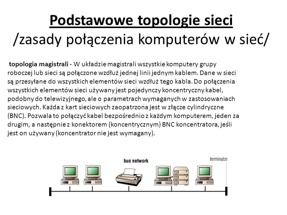 Podstawowe topologie sieci /zasady połączenia komputerów w sieć/ topologia magistrali - W układzie magistrali wszystkie komputery grupy roboczej lub sieci są połączone wzdłuż jednej linii jednym kablem.