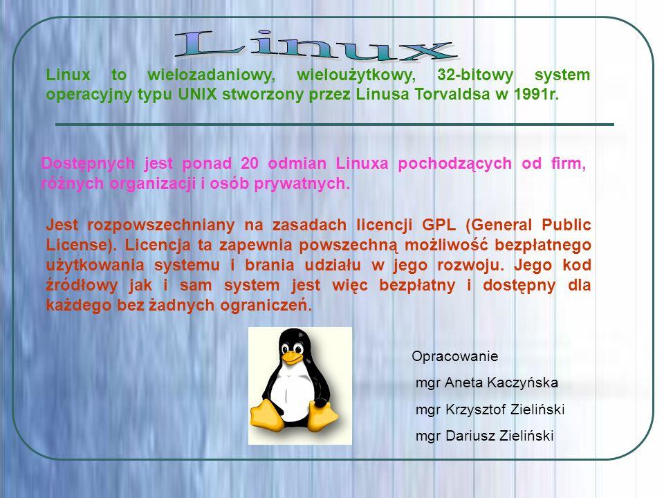 Dostępnych jest ponad 20 odmian Linuxa pochodzących od firm, różnych organizacji i osób prywatnych. Linux to wielozadaniowy, wieloużytkowy, 32-bitowy