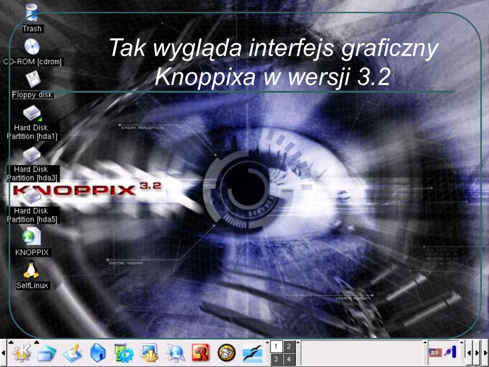 Tak wygląda interfejs graficzny Knoppixa w wersji 3.2