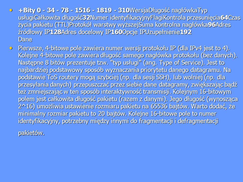 +Bity 0 - 34 - 78 - 1516 - 1819 - 310WersjaDługość nagłówkaTyp usługiCałkowita długość32Numer identyfikacyjnyFlagiKontrola przesunięcia64Czas życia pa