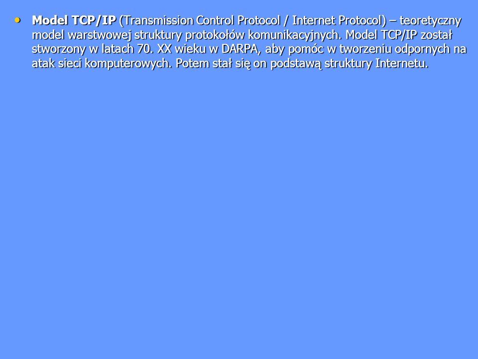 Model TCP/IP (Transmission Control Protocol / Internet Protocol) – teoretyczny model warstwowej struktury protokołów komunikacyjnych. Model TCP/IP zos