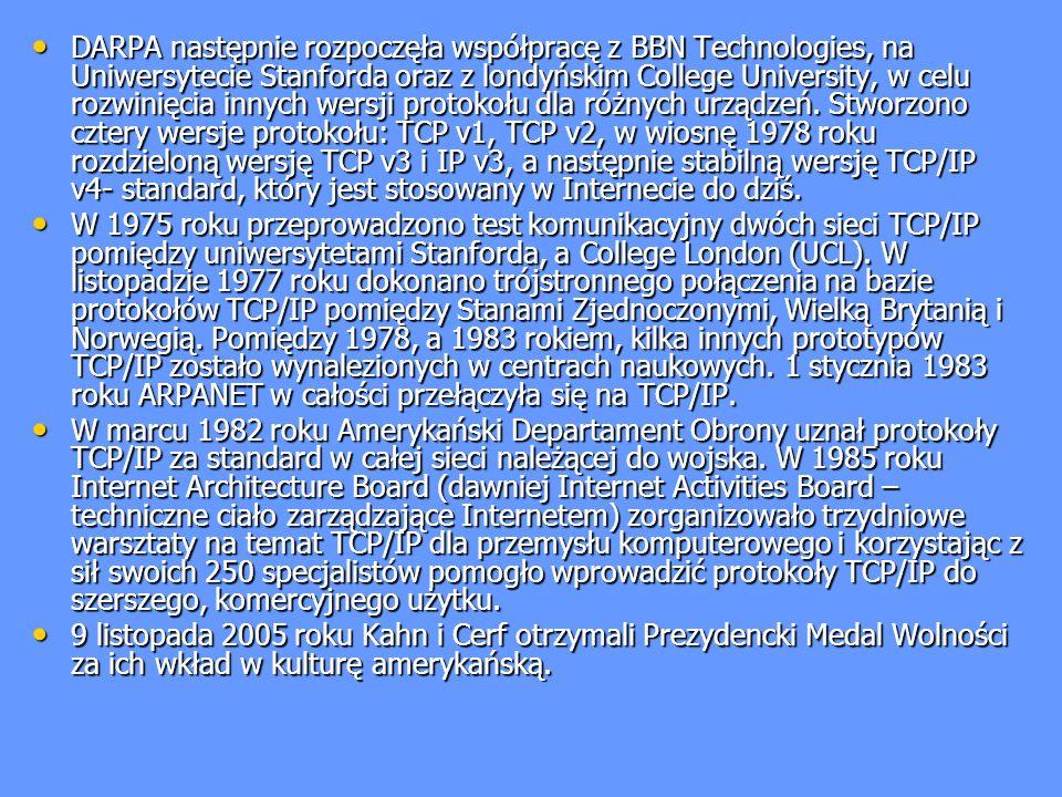 DARPA następnie rozpoczęła współpracę z BBN Technologies, na Uniwersytecie Stanforda oraz z londyńskim College University, w celu rozwinięcia innych w