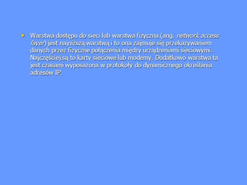 Warstwa dostępu do sieci lub warstwa fizyczna (ang. network access layer) jest najniższą warstwą i to ona zajmuje się przekazywaniem danych przez fizy