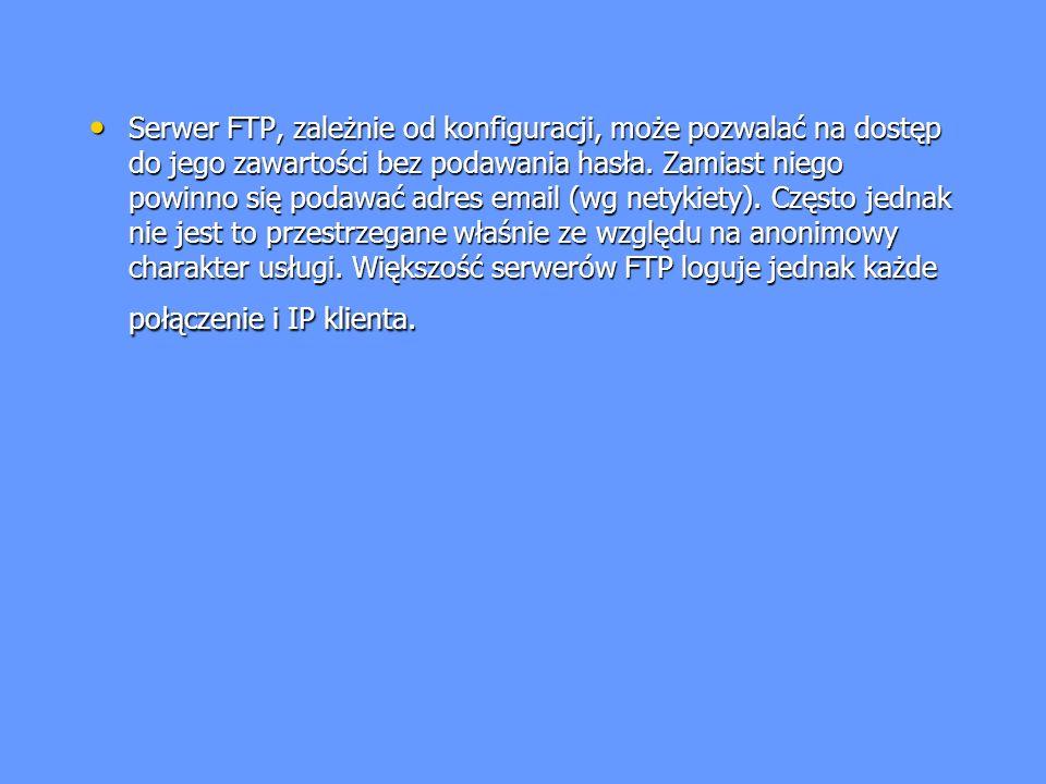 Serwer FTP, zależnie od konfiguracji, może pozwalać na dostęp do jego zawartości bez podawania hasła. Zamiast niego powinno się podawać adres email (w