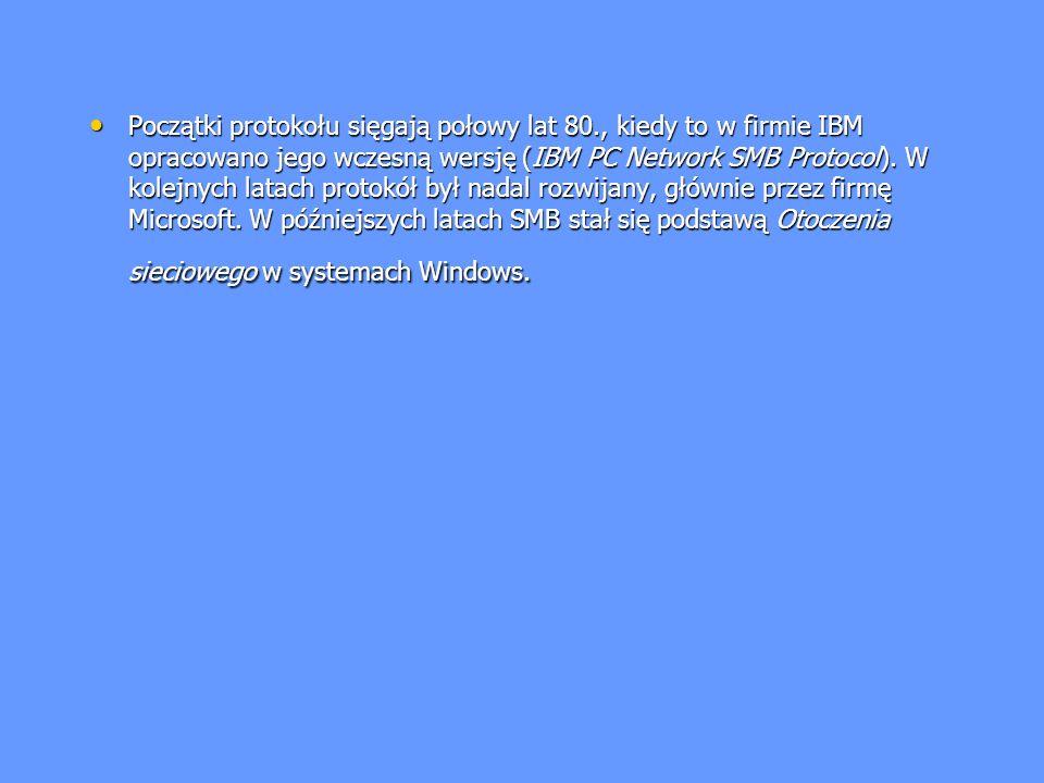 Początki protokołu sięgają połowy lat 80., kiedy to w firmie IBM opracowano jego wczesną wersję (IBM PC Network SMB Protocol). W kolejnych latach prot