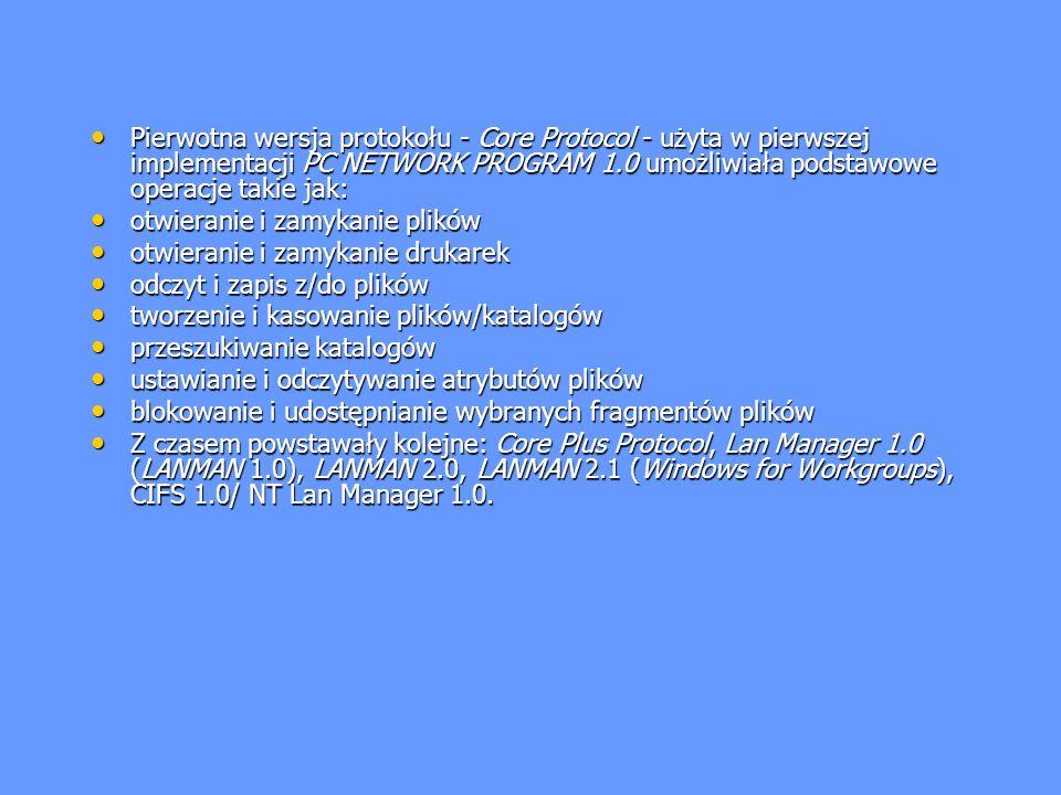 Pierwotna wersja protokołu - Core Protocol - użyta w pierwszej implementacji PC NETWORK PROGRAM 1.0 umożliwiała podstawowe operacje takie jak: Pierwot