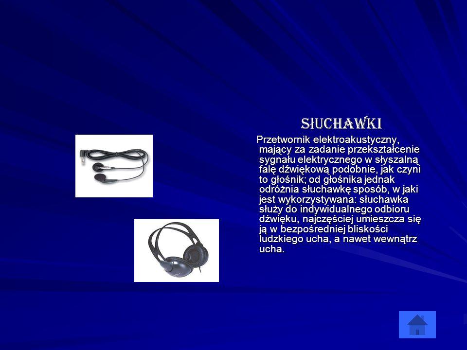 Słuchawki Przetwornik elektroakustyczny, mający za zadanie przekształcenie sygnału elektrycznego w słyszalną falę dźwiękową podobnie, jak czyni to gło