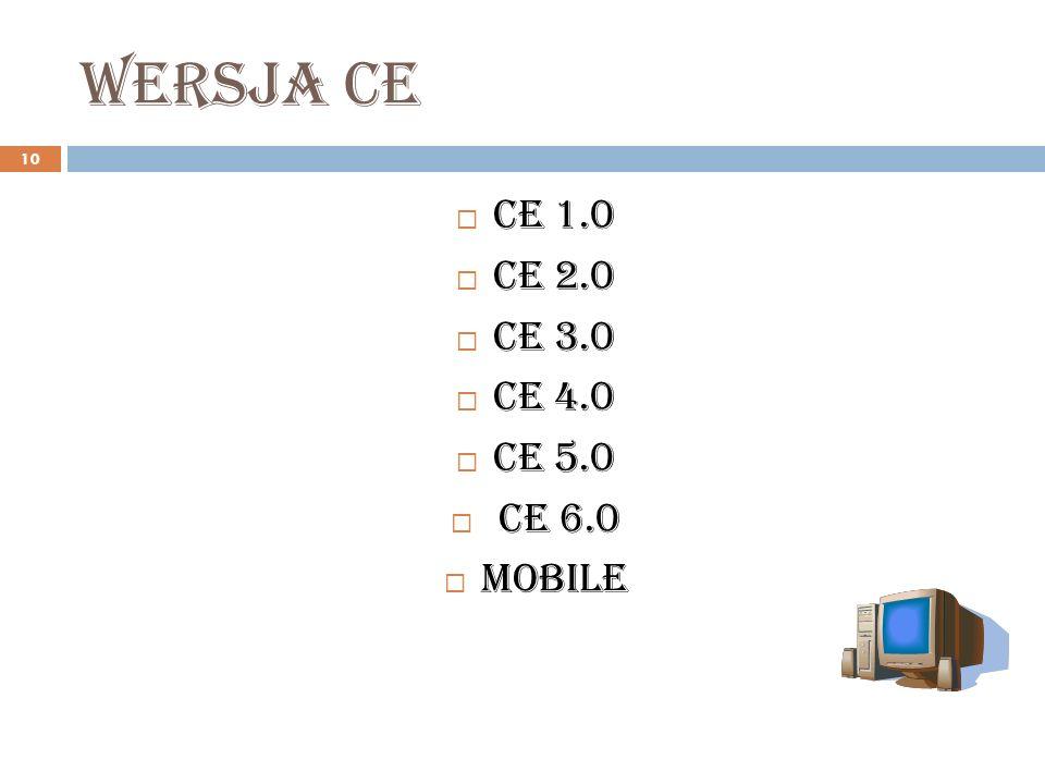 Wersja ce 10 CE 1.0 CE 2.0 CE 3.0 CE 4.0 CE 5.0 CE 6.0 Mobile