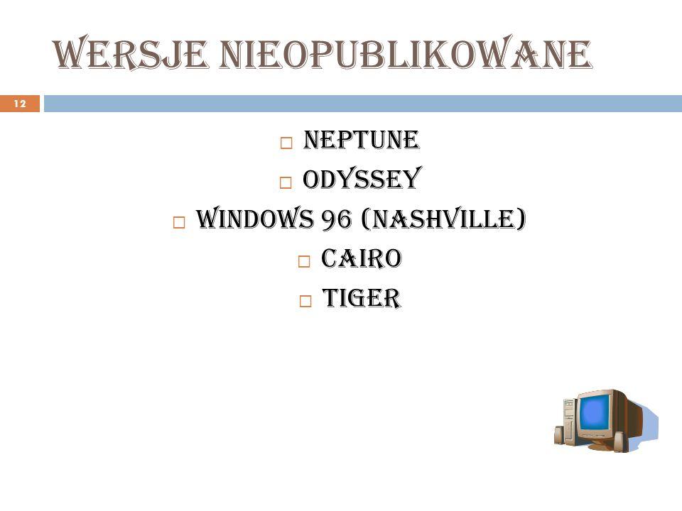 Wersje nieopublikowane 12 Neptune Odyssey Windows 96 (Nashville) Cairo Tiger