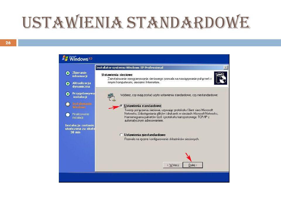 Ustawienia standardowe 26