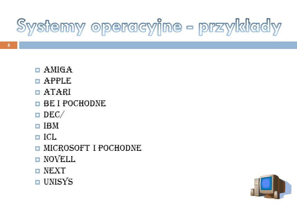 5 Amiga Apple Atari Be i pochodne DEC/ IBM ICL Microsoft i pochodne Novell NeXT Unisys