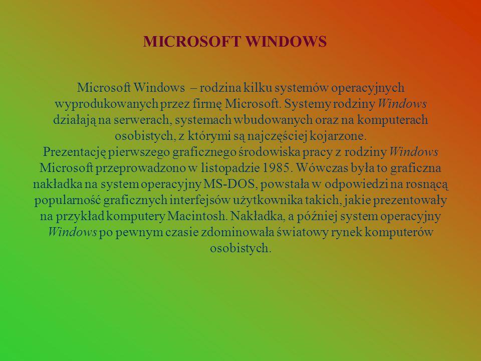 Microsoft Windows – rodzina kilku systemów operacyjnych wyprodukowanych przez firmę Microsoft. Systemy rodziny Windows działają na serwerach, systemac