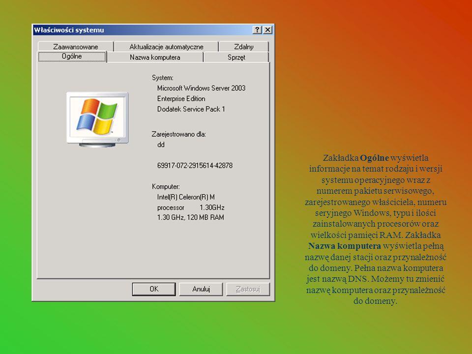 Zakładka Ogólne wyświetla informacje na temat rodzaju i wersji systemu operacyjnego wraz z numerem pakietu serwisowego, zarejestrowanego właściciela,