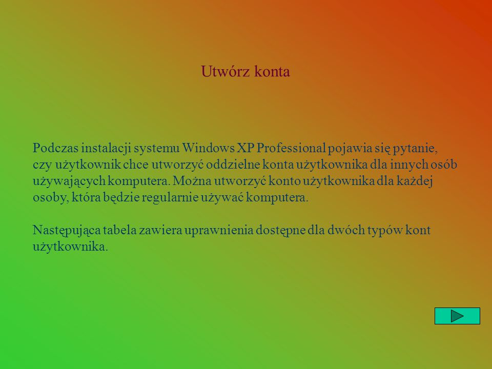 Utwórz konta Podczas instalacji systemu Windows XP Professional pojawia się pytanie, czy użytkownik chce utworzyć oddzielne konta użytkownika dla innych osób używających komputera.