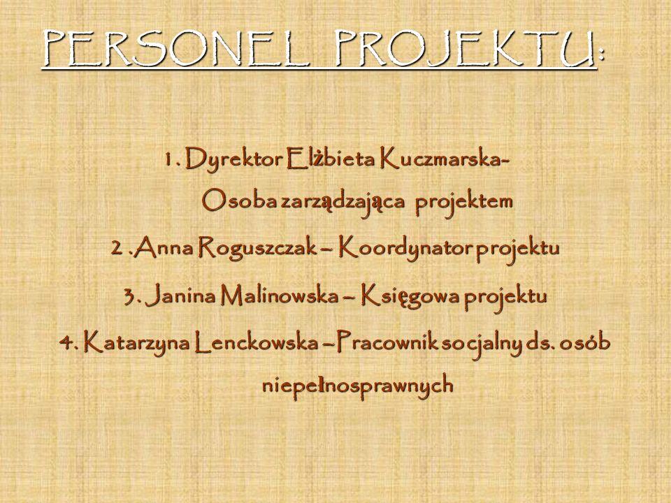 PERSONEL PROJEKTU: 1. Dyrektor El ż bieta Kuczmarska- Osoba zarz ą dzaj ą ca projektem 2.Anna Roguszczak – Koordynator projektu 3. Janina Malinowska –