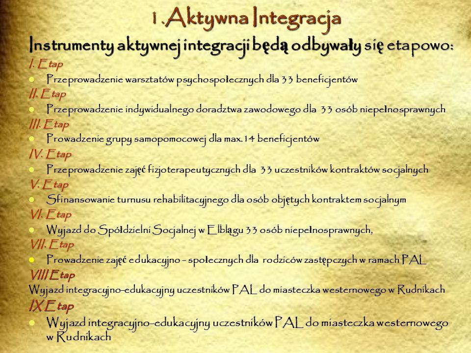 1.Aktywna Integracja Instrumenty aktywnej integracji b ę d ą odbywa ł y si ę etapowo: I. Etap Przeprowadzenie warsztatów psychospo ł ecznych dla 33 be