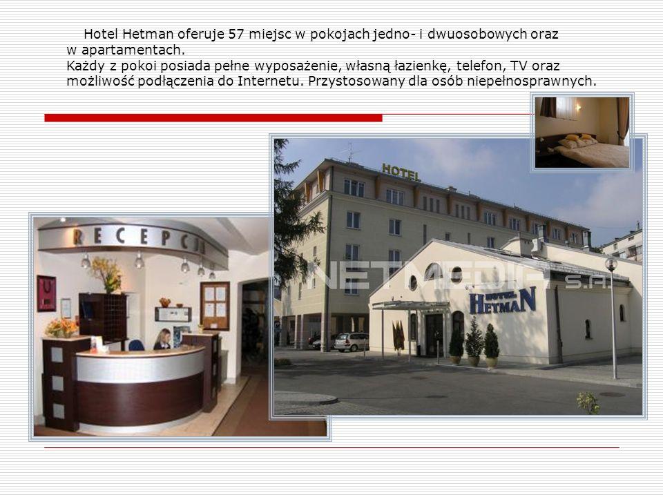 Hotel Hetman oferuje 57 miejsc w pokojach jedno- i dwuosobowych oraz w apartamentach. Każdy z pokoi posiada pełne wyposażenie, własną łazienkę, telefo
