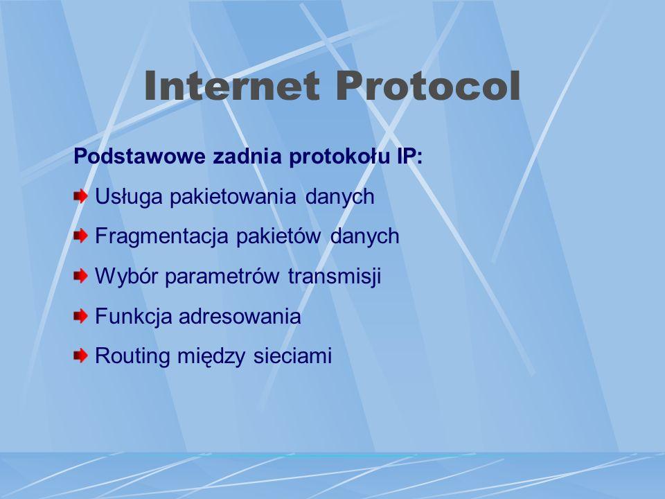 Internet Protocol Podstawowe zadnia protokołu IP: Usługa pakietowania danych Fragmentacja pakietów danych Wybór parametrów transmisji Funkcja adresowania Routing między sieciami