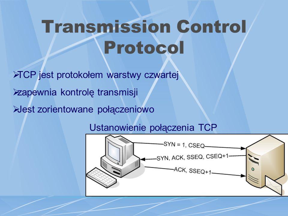 Transmission Control Protocol Ustanowienie połączenia TCP TCP jest protokołem warstwy czwartej zapewnia kontrolę transmisji Jest zorientowane połączeniowo