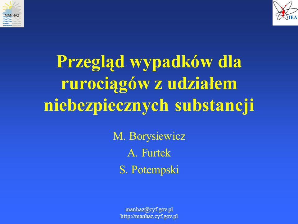 manhaz@cyf.gov.pl http://manhaz.cyf.gov.pl Przegląd wypadków dla rurociągów z udziałem niebezpiecznych substancji M. Borysiewicz A. Furtek S. Potempsk