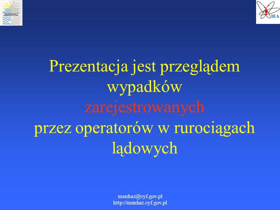 manhaz@cyf.gov.pl http://manhaz.cyf.gov.pl Prezentacja jest przeglądem wypadków zarejestrowanych przez operatorów w rurociągach lądowych
