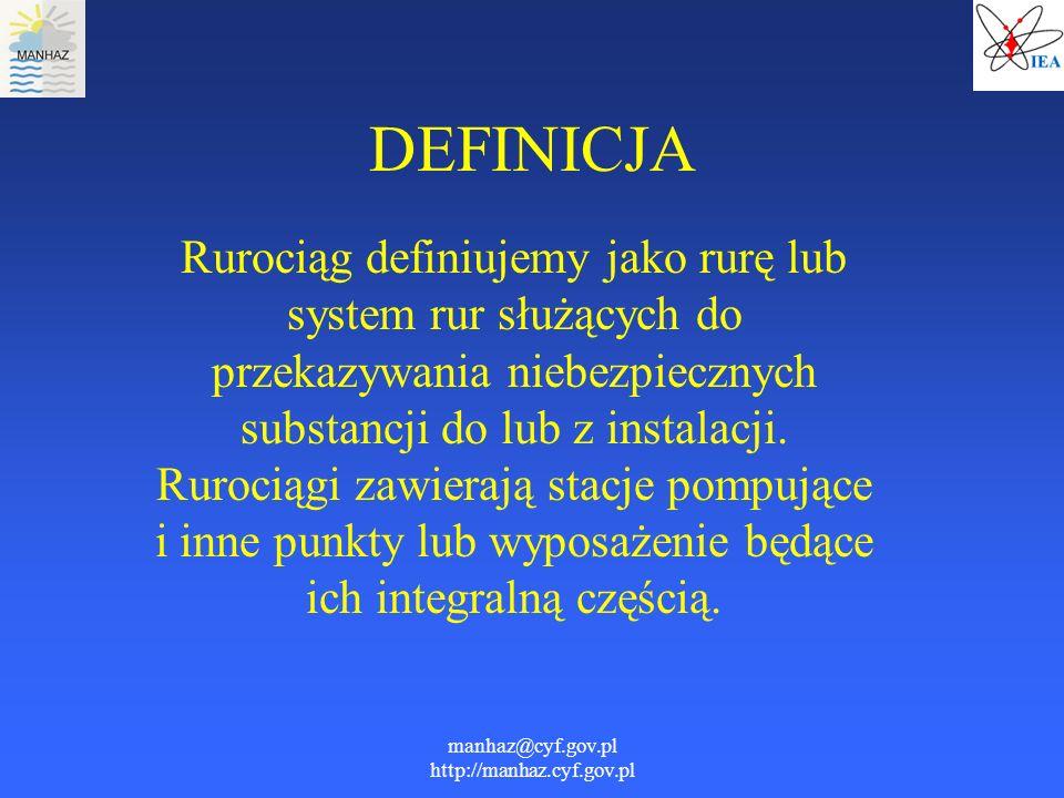 manhaz@cyf.gov.pl http://manhaz.cyf.gov.pl DEFINICJA Rurociąg definiujemy jako rurę lub system rur służących do przekazywania niebezpiecznych substanc