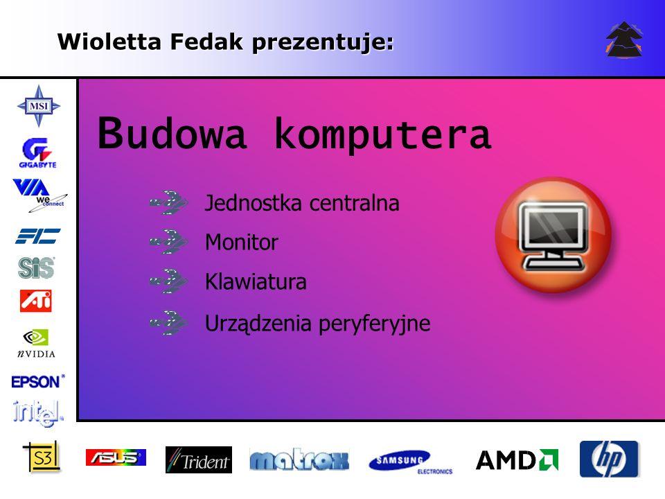 Wioletta Fedak prezentuje: B udowa komputera Jednostka centralna Monitor Klawiatura Urządzenia peryferyjne