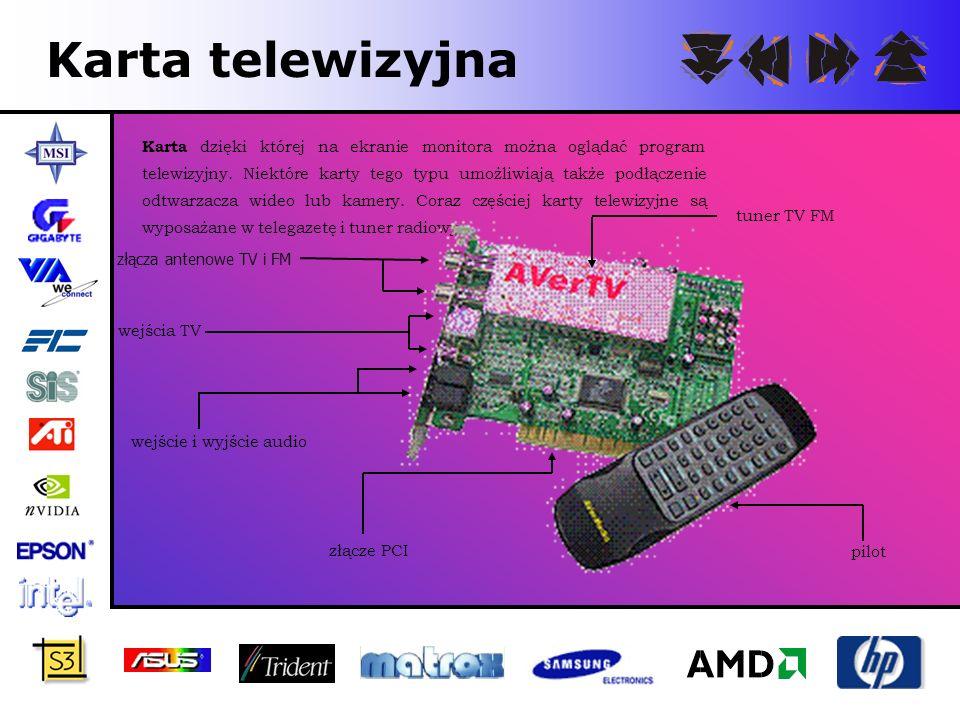 Karta telewizyjna Karta dzięki której na ekranie monitora można oglądać program telewizyjny. Niektóre karty tego typu umożliwiają także podłączenie od