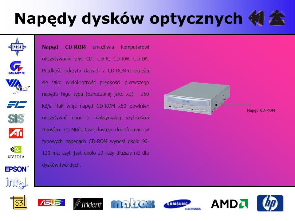 Napędy dysków optycznych Napęd CD-ROM umożliwia komputerowi odczytywanie płyt CD, CD-R, CD-RW, CD-DA. Prędkość odczytu danych z CD-ROM-u określa się j
