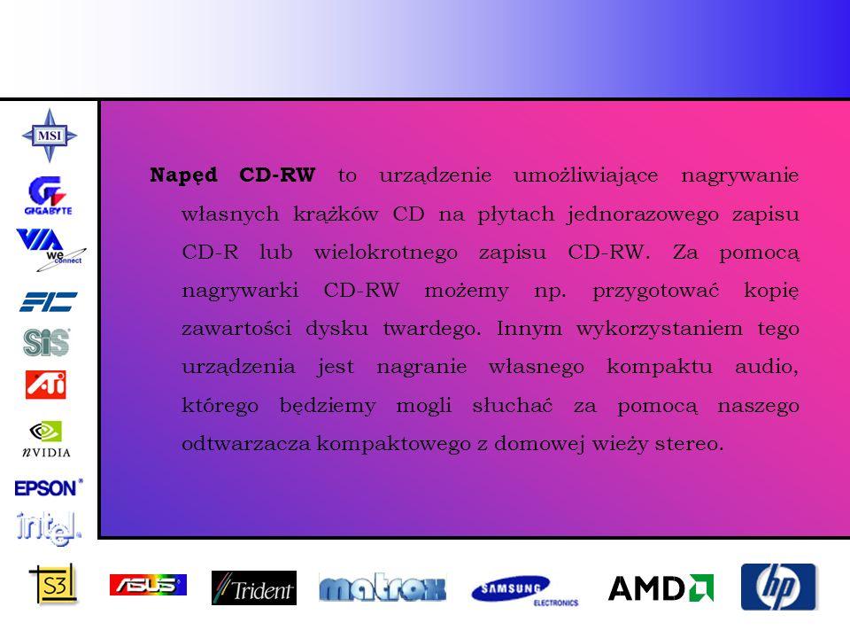 Napęd CD-RW to urządzenie umożliwiające nagrywanie własnych krążków CD na płytach jednorazowego zapisu CD-R lub wielokrotnego zapisu CD-RW. Za pomocą