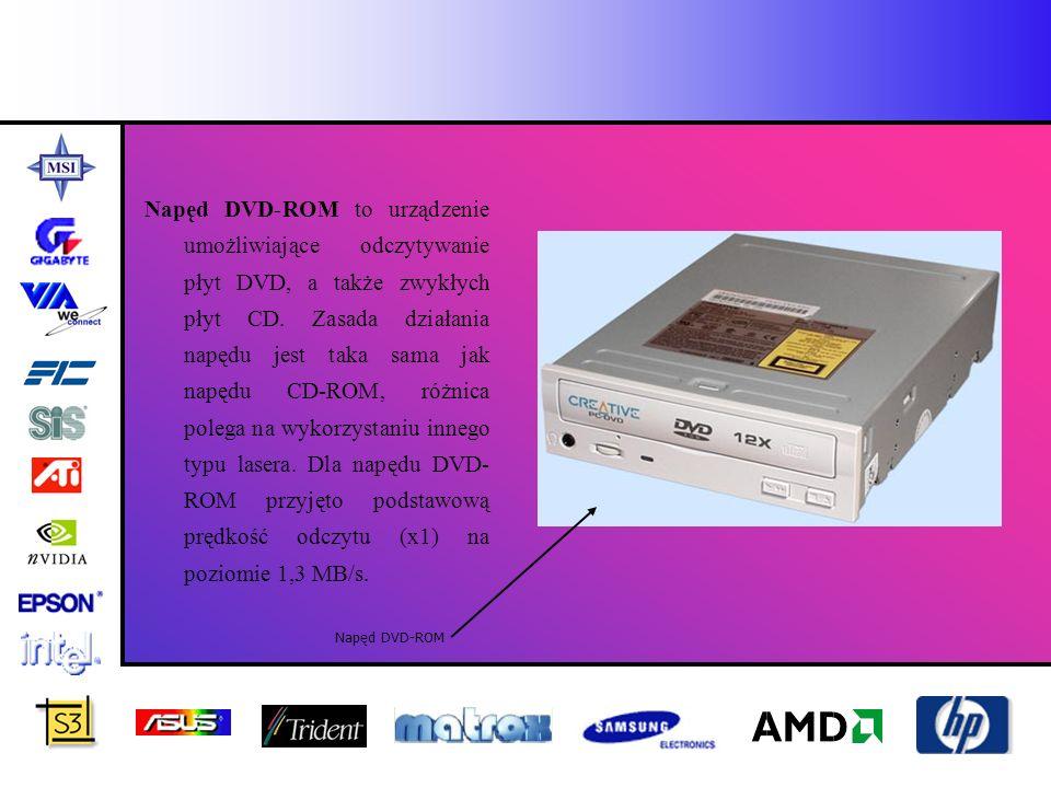 Napęd DVD-ROM to urządzenie umożliwiające odczytywanie płyt DVD, a także zwykłych płyt CD. Zasada działania napędu jest taka sama jak napędu CD-ROM, r