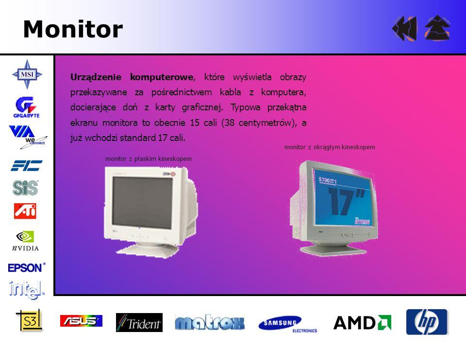 Monitor Urządzenie komputerowe, które wyświetla obrazy przekazywane za pośrednictwem kabla z komputera, docierające doń z karty graficznej. Typowa prz
