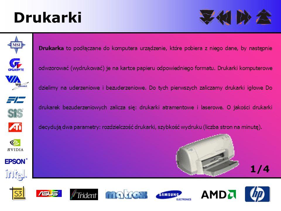 Drukarki Drukarka to podłączane do komputera urządzenie, które pobiera z niego dane, by następnie odwzorować (wydrukować) je na kartce papieru odpowie