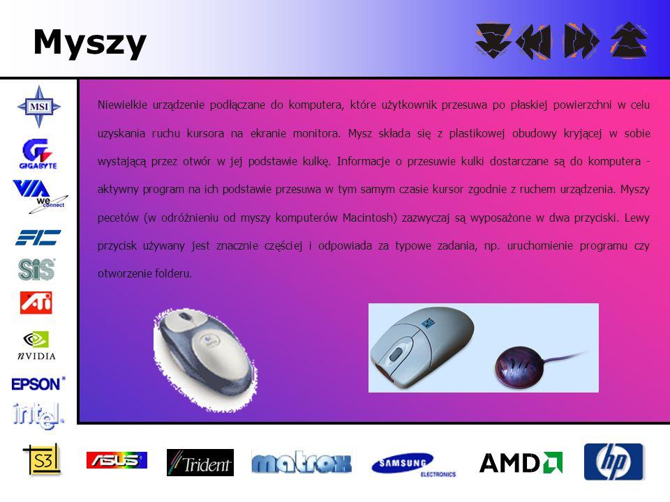 Myszy Niewielkie urządzenie podłączane do komputera, które użytkownik przesuwa po płaskiej powierzchni w celu uzyskania ruchu kursora na ekranie monit