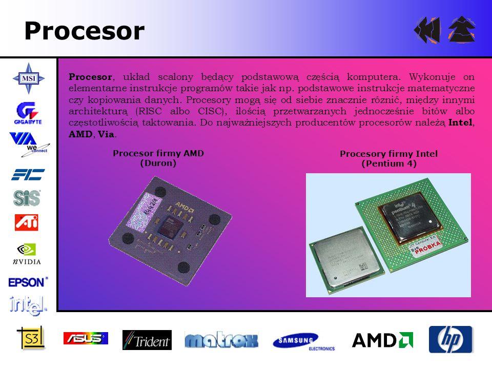 Procesor Procesor, układ scalony będący podstawową częścią komputera. Wykonuje on elementarne instrukcje programów takie jak np. podstawowe instrukcje