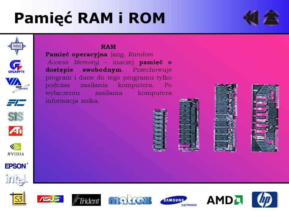 Pamięć RAM i ROM RAM Pamięć operacyjna (ang. Random Access Memory ) – inaczej pamięć o dostępie swobodnym. Przechowuje program i dane do tego programu