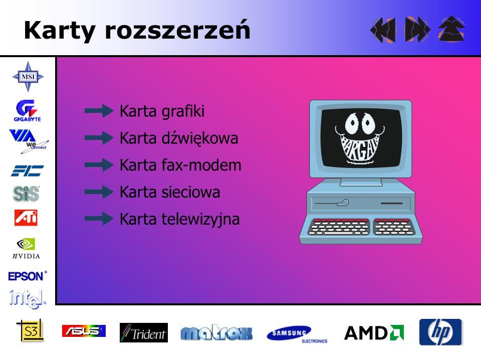 Karta grafiki Karta, która odpowiada w komputerze za obraz wyświetlany przez monitor.