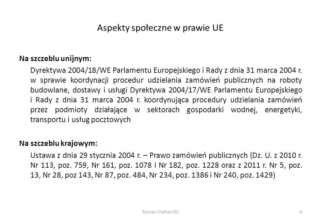 Aspekty społeczne w prawie UE c.d.Art.