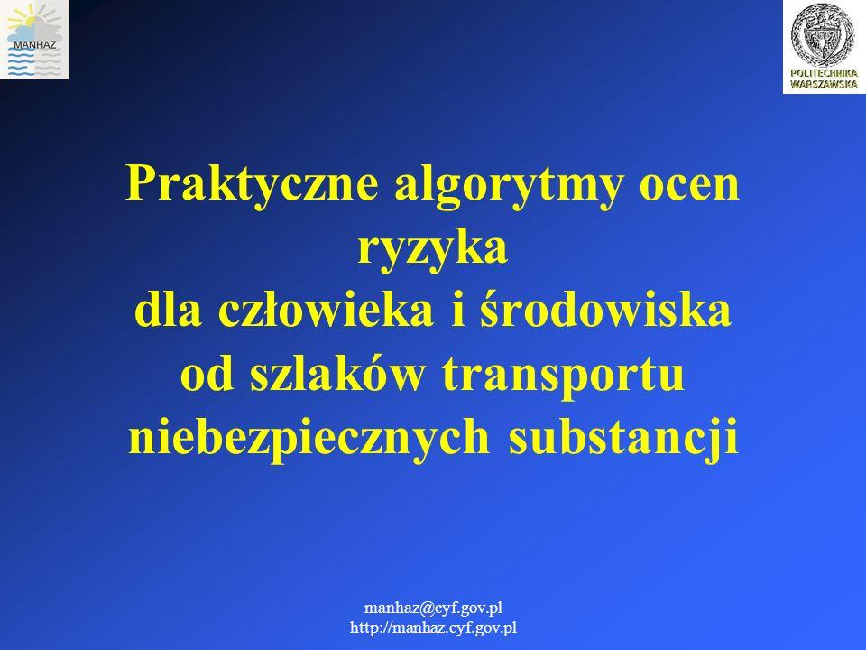 manhaz@cyf.gov.pl http://manhaz.cyf.gov.pl RFZ - prawdopodobieństwo uwolnienia substancji, pożaru lub wybuchu w wyniku wykolejenia się lub uszkodzenia wagonu przewożącego substancje niebezpieczne, ASS - prawdopodobieństwo tego, że po zajściu rozważanego scenariusza reprezentatywnego poważnych awarii transportowych wystąpią poważne skutki,