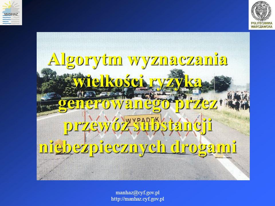manhaz@cyf.gov.pl http://manhaz.cyf.gov.pl Metoda przyjęta do oceny zagrożenia Zastosowana metoda sprowadza się do wyznaczenia prawdopodobieństwa wystąpienia poważnej katastrofy transportowej, która może wywołać jeden z następujących skutków: