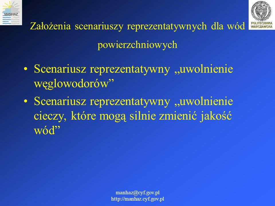 manhaz@cyf.gov.pl http://manhaz.cyf.gov.pl Założenia scenariuszy reprezentatywnych dla wód powierzchniowych Scenariusz reprezentatywny uwolnienie węgl