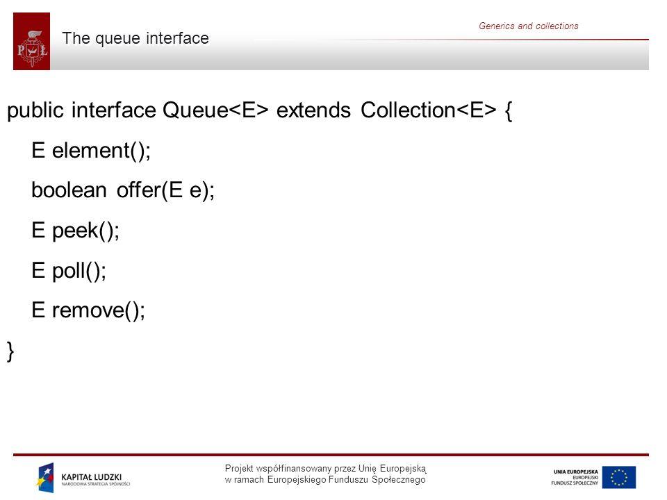 Projekt współfinansowany przez Unię Europejską w ramach Europejskiego Funduszu Społecznego Generics and collections The queue interface public interfa